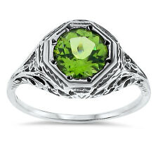 GENUINE PERIDOT ANTIQUE DESIGN 925 SOLID STERLING SILVER RING SIZE 9,  #64