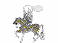 Custom Engraved / personalised keyring & gift pouch - Sparkly Pegasus - BR286brn