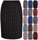 Womens Tartan Check Print Ladies Pleated Elasticated Waist Long Skirt Plus Size