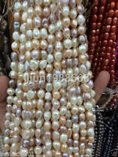 8-9mm Water White pink purple Freshwater Cultured Pearl Loose Beads 13""
