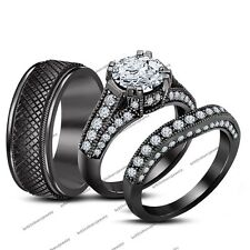 1.90CT Diamond In Double Prong Black Gold FN  His And Her Trio Wedding Ring Set