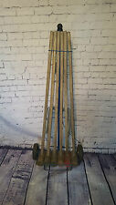 VINTAGE WOODEN CROQUET SET GARDEN GAMES TOYS WOODEN ANTIQUE SET RETRO