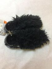 NEW CROCS Kids Sz C11(Ages 5-7)The Thing Black Clogs Slides Fuzzy Furry Monster