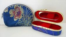 Small Asian Blue Silk Travel Purse Kiss Lock Jewelry Case With Inside Mirror