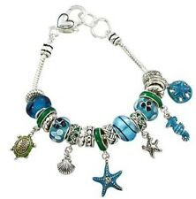 SEA LIFE NAUTICAL AQUA OCEAN BLUE CHARM TURTLE STARFISH GLASS BEAD BRACELET