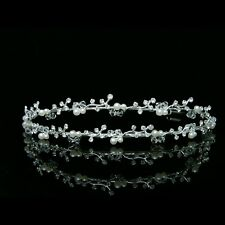 Bridal Double Band Floral Rhinestone Crystal Pearls Wedding Tiara Headband 7275