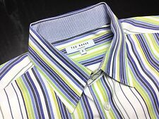 TED BAKER Mens 4 (L) Slim Blue Green White Striped Long Sleeve French Cuff Shirt