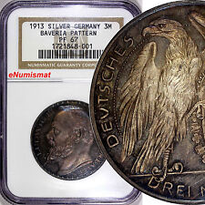 Germany Bavaria Pattern Silver 1913 3 Mark NGC PROOF PF67 SCH-52/G1 TOP GRADED !