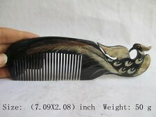 Exquisite Chinese Old Ox Horn Hand-Carved Comb NR