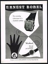 1950s Vintage 1956 Ernest Borel Square Automatic & Cocktail Watch Art Print AD