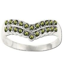 Sterling Silver Genuine 22 Marcasite V-Shape Ring Size 9