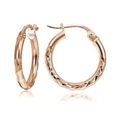 """Rose Gold Tone over Sterling Silver Diamond-Cut .6"""" Small Round Hoop Earrings"""