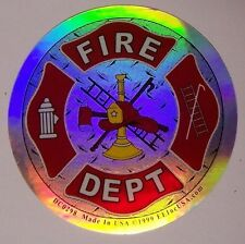 Window Bumper Sticker Fire Department Emblem NEW Reflective