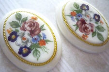 Vintage Cameos - Floral Bouquet on Ivory Base - 40X30mm Cabochons - Qty 2