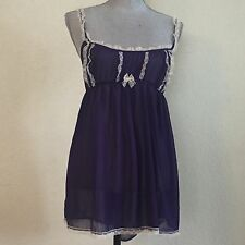 VICTORIAS SECRET XL Navy Blue Ivory Lace Nightie Babydoll Lingerie Teddy