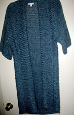 Long Blue Knit Shawl Front Sweater Vest 1/2 Dolman Sleeve Sz L by New York & Co.
