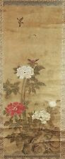 OLD JAPANESE WATER COLOR PAINTING SCROLL OF BIRDS AND FLOWERS