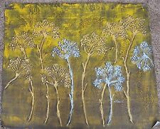 "Gold Silver Trees Impasto Original Oil on Canvas 23 x 27"" Unframed Painting"
