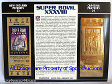 NEW ENGLAND PATRIOTS vs PANTHERS Willabee Ward GOLD SUPER BOWL 38 TICKET XXXVIII