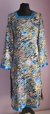 VTG Ladies Unbranded Black/Blue Animal Print Floral Chinese Style Dress Size 8