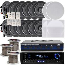 """NEW Pyle 6-room In-Ceiling 5.25"""" Speaker System w/Receiver Volume Controls  Wire"""