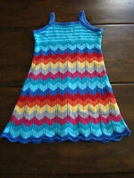 Hanna Andersson Girl Chevron Zig Zag Stripe Knit Sweater Dress Blues 120 US 6 7