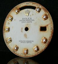 VINTAGE Gents Rolex giorno data DIAMOND WHITE DIAL 18038