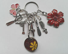 Hairdresser Styler Keyring Key Ring Gift - Flower/Butterfly - Red Trolley Token