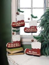 Primitive Wood Christmas Santa Boot Plaque~Set of 4~Ornament~Country/Wreath/Swag