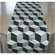 "Table Runner 6ft Black and  Grey Cubes 72"" 3D Cube 180cm Geometric Modern Retro"