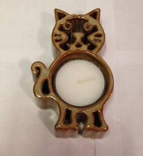 Bay Pottery Hand Crafted Candlepots Gold Cat Tea Light Holder W/Candle CHE-TLG