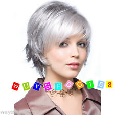 Ladies Wigs Women's Straight fashion short Silver Grey Natural Hair wig/wig cap