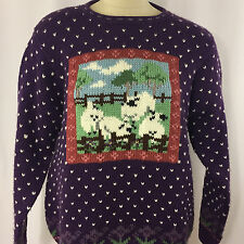 Northern Isles Sweater Women's XL Purple Sheep Design Long Sleeve