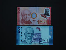 COSTA RICA BANKNOTES  -  DAZZLING 1000 & 2000 SET OF TWO  !!!   * MINT UNC *