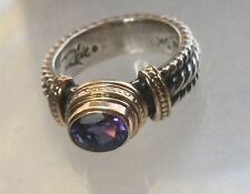 Reve Designer Sterling Silver 14K Gold Purple Stone Roped Band Ring Sz 7