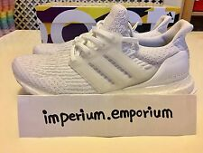 adidas Ultra Boost 3.0 Triple White Men's Trainers Continental Sole Size UK 8