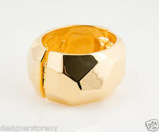Kenneth Jay Lane Polished Gold Plated geometric shape hinged bangle bracelet