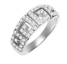 Engagement Bridal White Gold Plated & Rhinestones Wall Ring size O / 7 FR15
