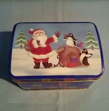 Greenbrier Iternational Hinged Barrel Top Christmas Tin - Santa & Penguins
