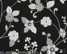 A.S. Creation, Wallpaper, Black & Silver Floral, Leaf, Feature Wall, BNIB 934884