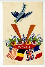 Hand-Painted URSS—USSR Flags WWII Patriotic American Rare Vintage 1941