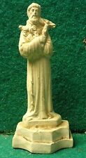 "ST FRANCIS OF ASSISI w/ CRUCIFIX & FLOWERS Old CLAY 3,03"" FIGURE STATUE"