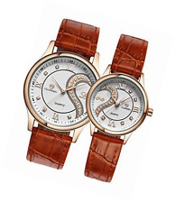 OOFIT His and Her Brown Leather Strap Golden Plated Gift Watches for Couple ( Se