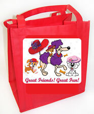 COTTON/POLY TOTE 12X12  PUPPY DOG CUSTOM  DESIGN FOR RED HAT LADIES OF SOCIETY