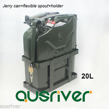 20L Jerry Can+Holder+Spout Portable Spare Petrol Storage Green for Motorcycle