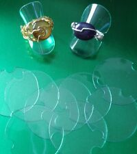 10 x Clear Plastic Disc Ring Display Stands. UK Seller. Craft Stall/Jewellery.