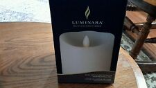 "LUMINARA REAL FLAME EFFECT CANDLE  IVORY 3.5"" X 5"" SCENTED VANILLA REAL WAX"