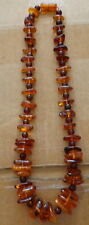 Antique Natural cognac & round cherry Baltic Amber Beads Necklace    #30s