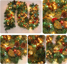 "270cm 106"" Full Decorated Christmas Garland w 220V String Light Party Ornaments"