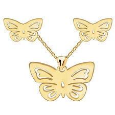 Gold Butterfly Stainless Steel Stud Earrings Necklace Pendant Jewellery Set S818